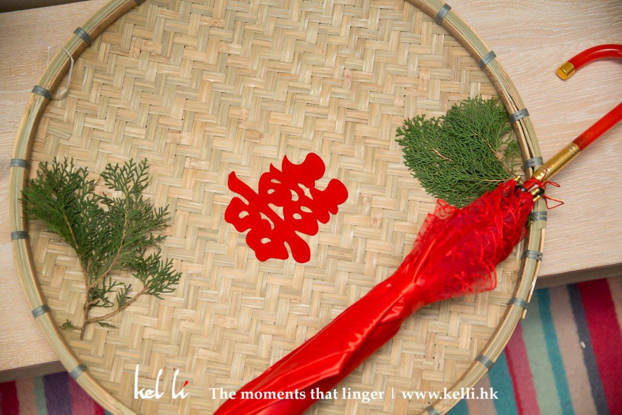 婚禮細節 - 喜字與紅傘