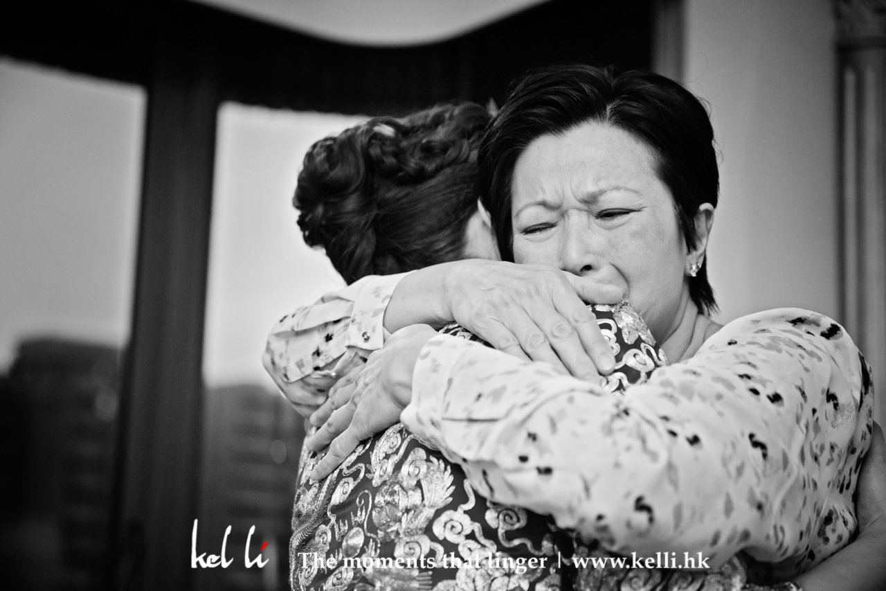 Mother and bride touching moments