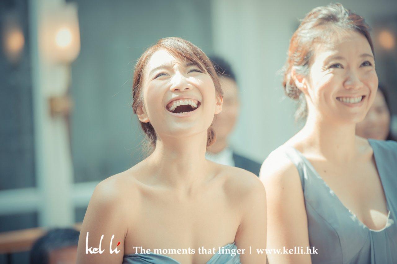 happy sister in a wedding ceremony