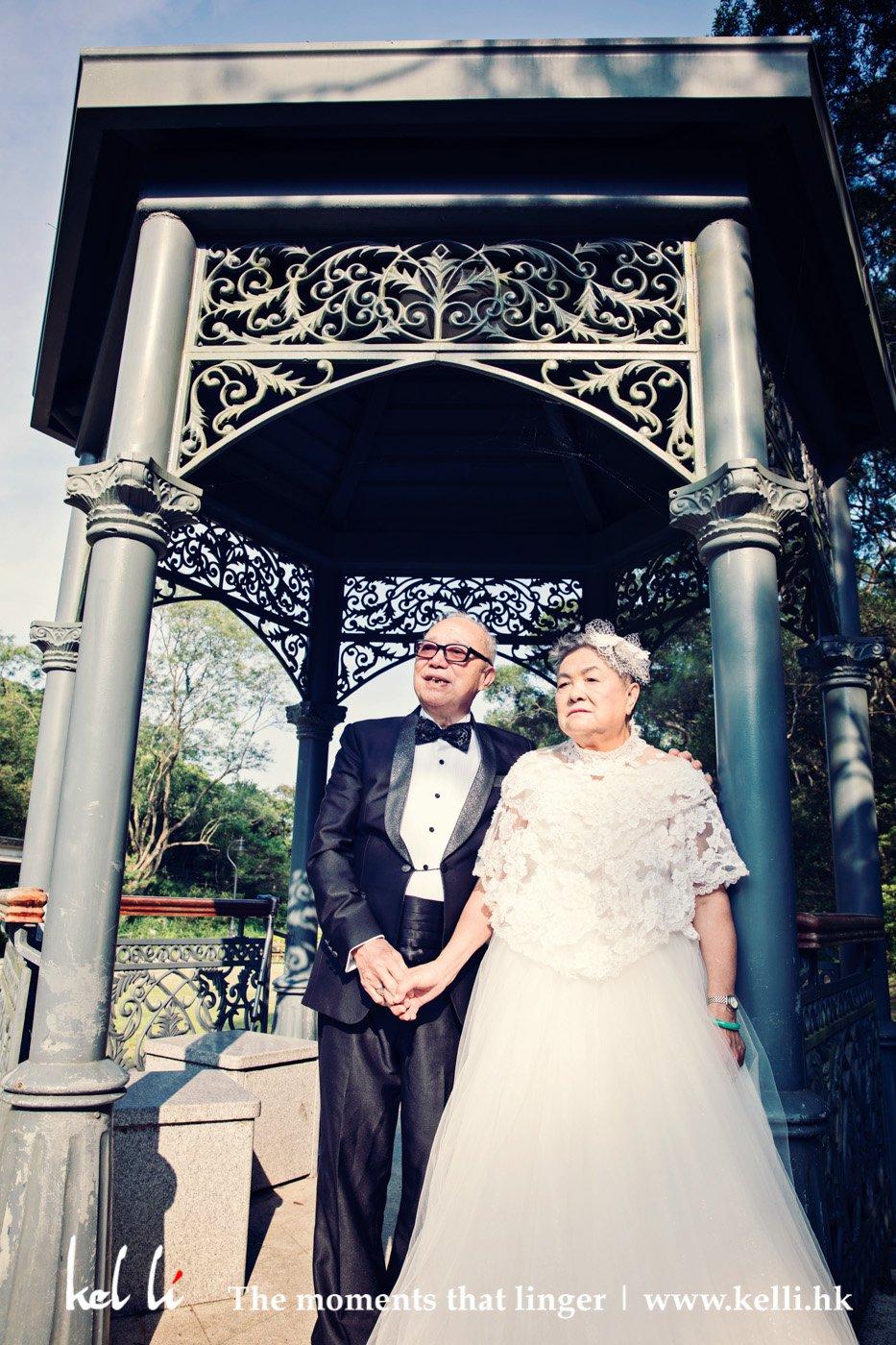 為長者安居協會拍攝的老人婚紗照