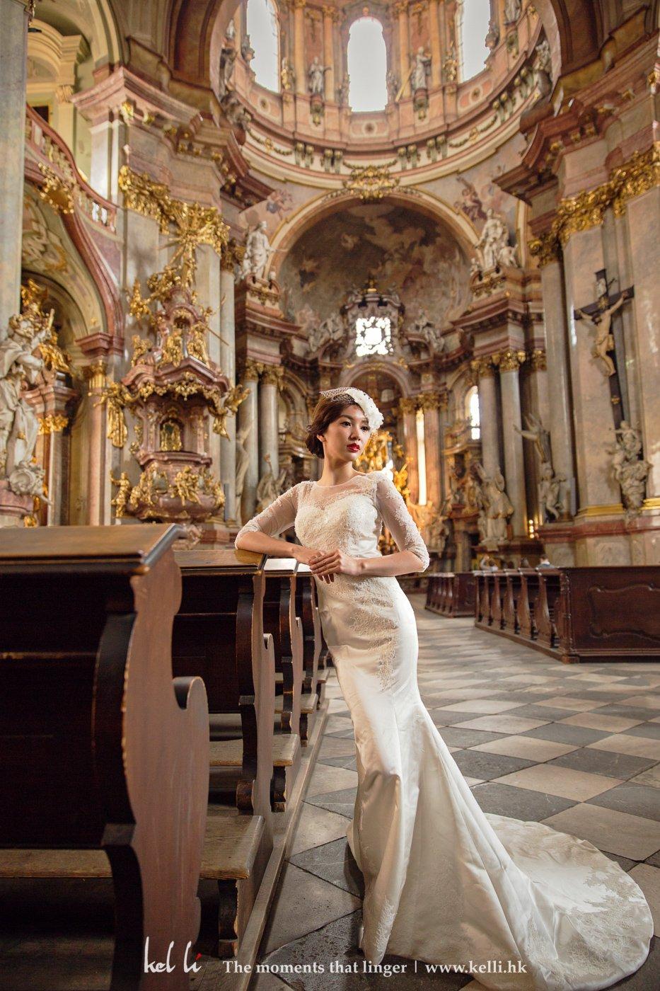 A bride in the beautiful church