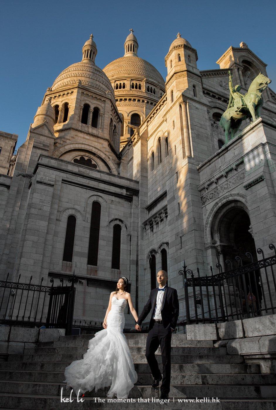 巴黎聖心聖殿是其中一個熱門的婚紗拍照地