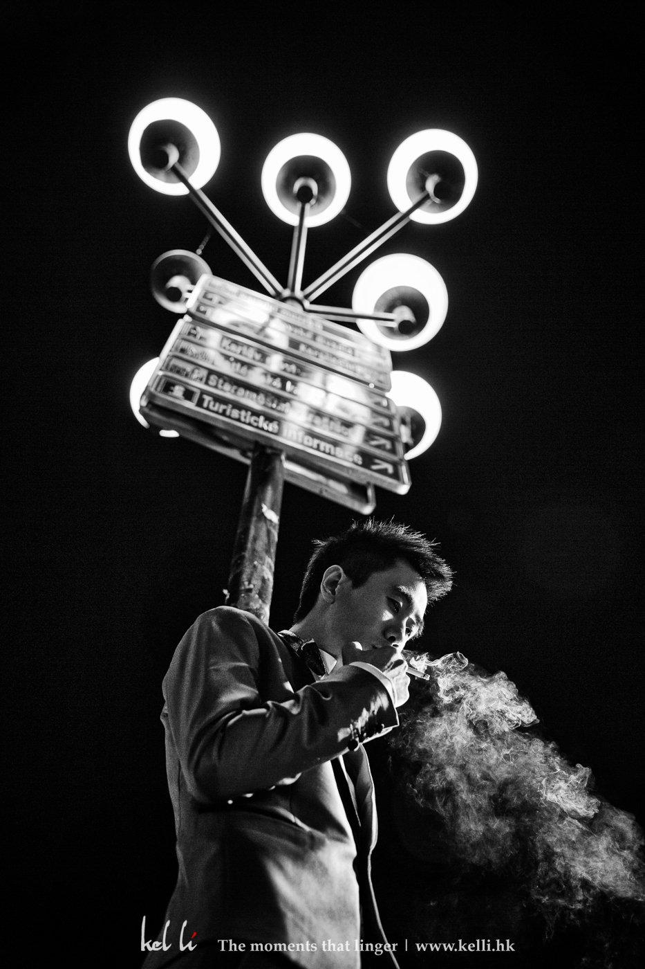 偶爾有抽煙習慣的客人都喜歡來一張這樣的照片,林生也不例外