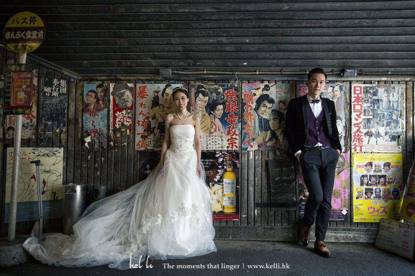 貼滿舊電影海報的牆,在東京這些大城市係比較難找到,當然也很適合用作Prewedding的背景