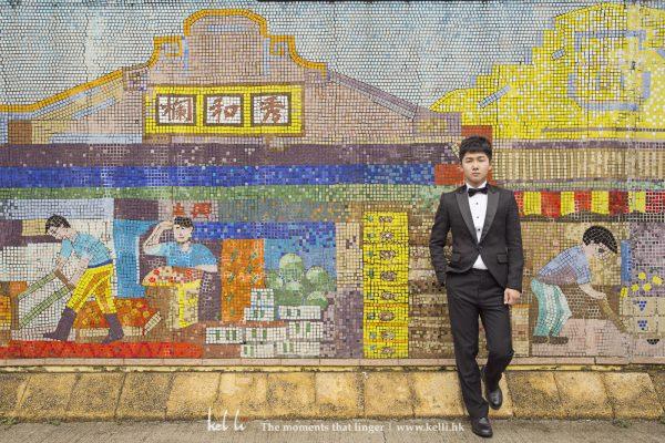 黑色禮服配合香港特色的牆壁出來效果都不錯