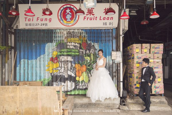近年多了好多年輕新人選擇在果欄做影婚紗相的場景