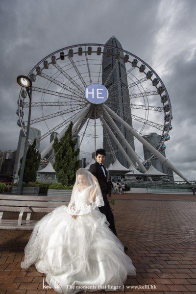 中環的摩天輪已經成為香港特色景點之一, 用來婚紗攝影都不錯