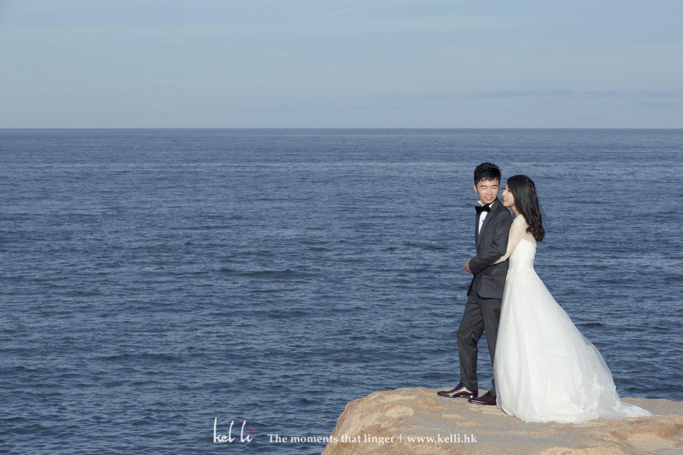 香港石澳石滩上的婚纱照