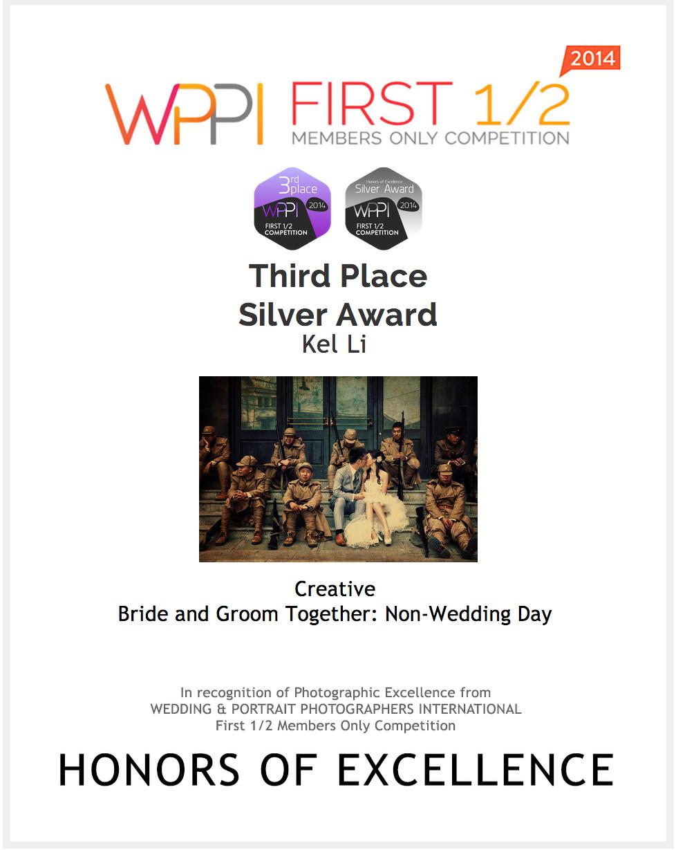 """全球最大型比賽 - 美國WPPI在 """"Groom & Bride Together"""" 類別奪得第三名"""