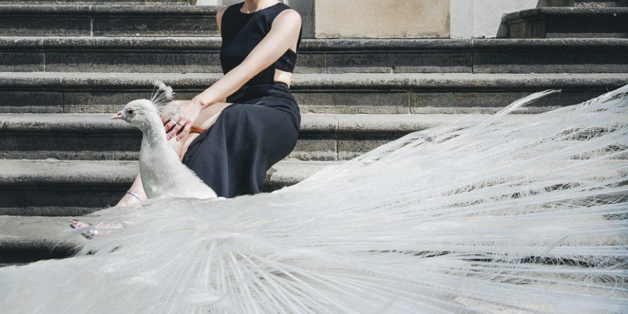 白孔雀與新娘-布拉格婚紗攝影