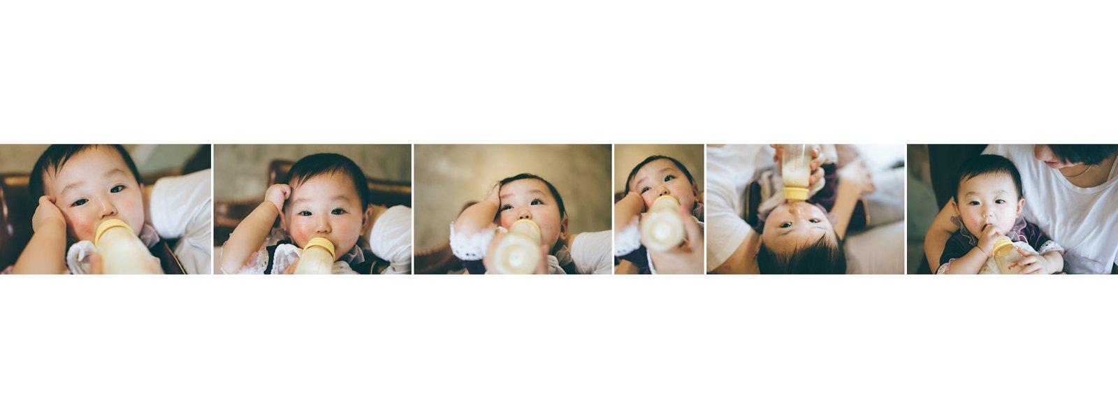 嬰兒食奶也是不錯的拍攝過程