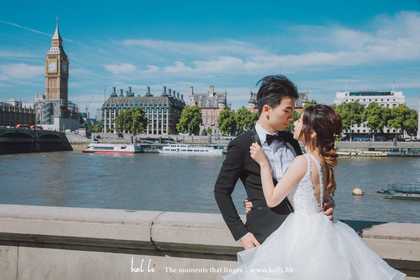 泰晤士河是倫敦的地標之一,隔岸就是著名地標London Eye及Big Ben,拍攝Prewedding是很集中