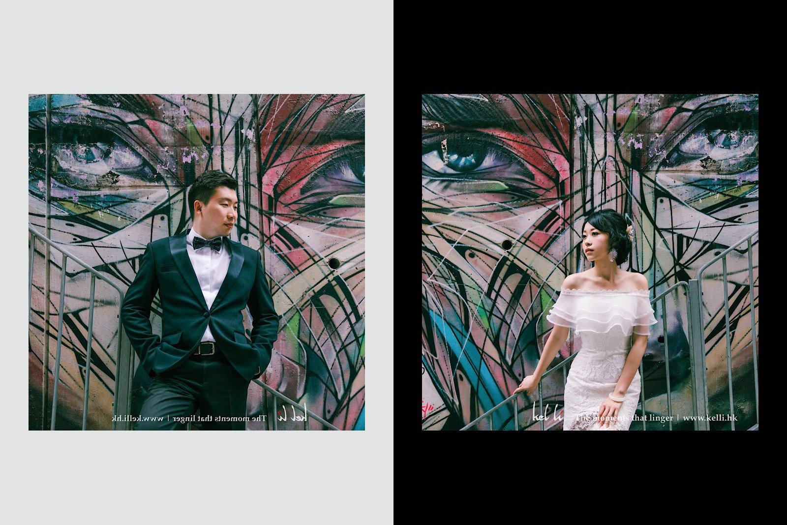 塗鴉和婚紗形成強烈的對比效果
