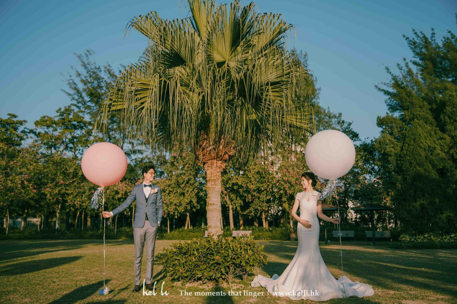 圓圓的氣球象徵著圓滿的婚姻