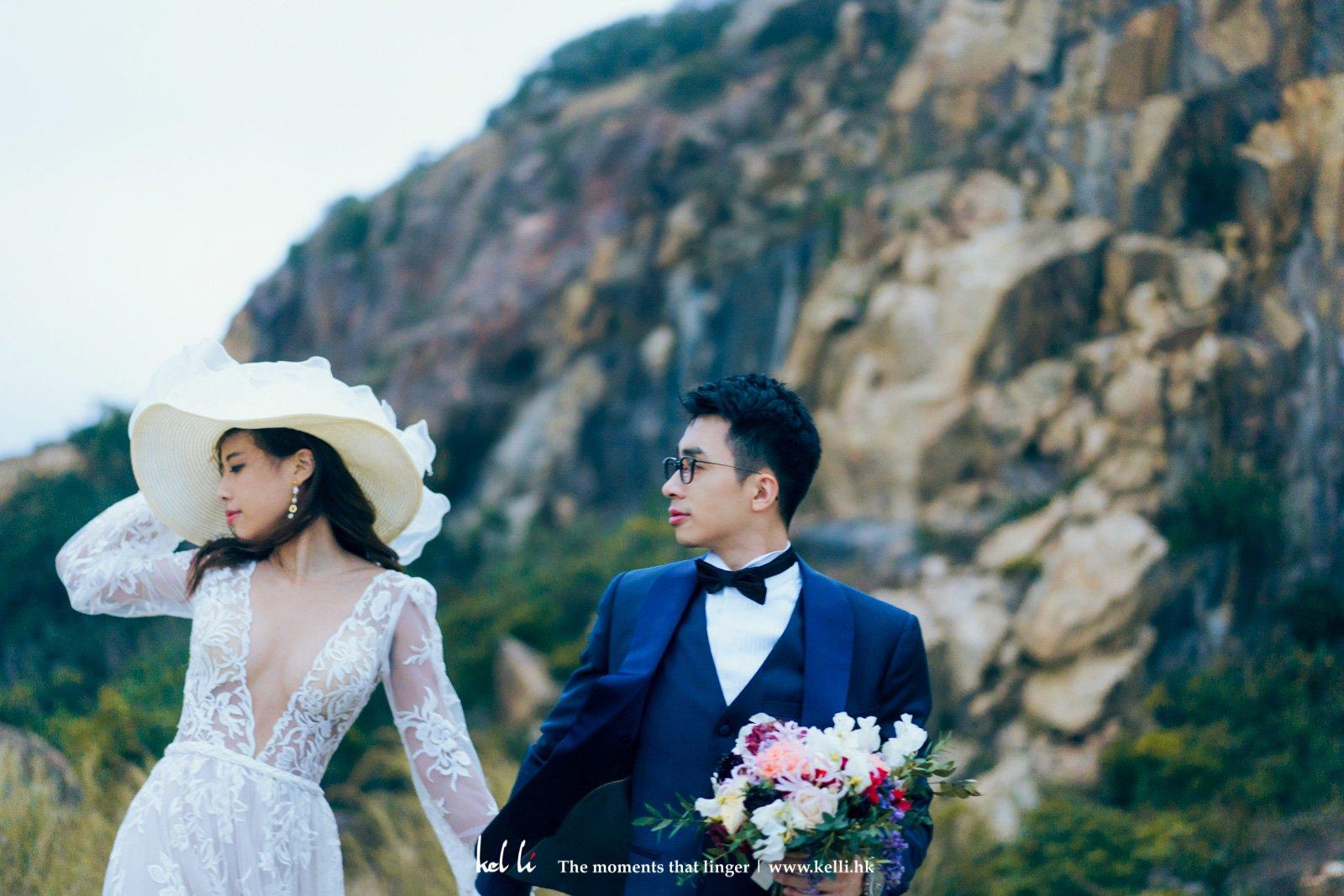 帶著獨特帽子的婚紗照,別有一番風味